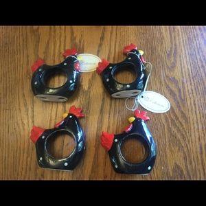 VTG Ceramic Rooster Napkin Rings Set of 4